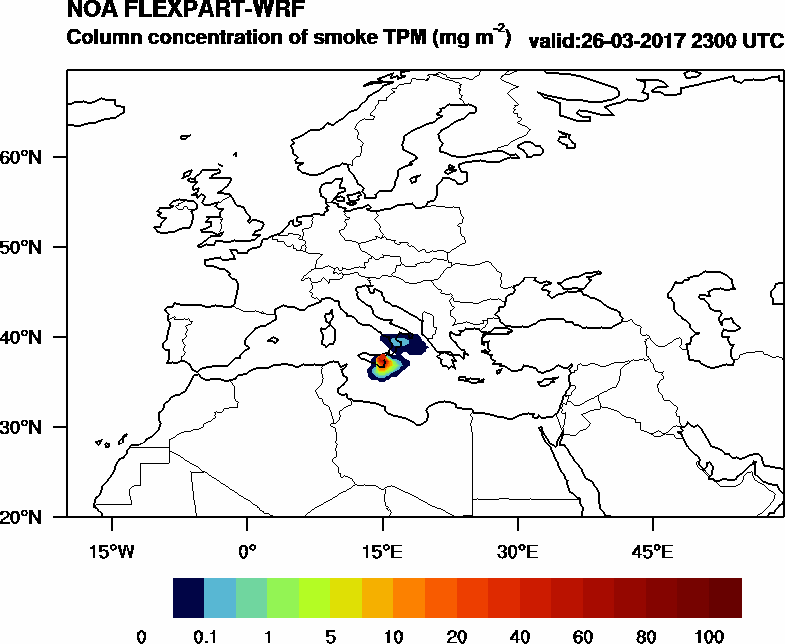 Column concentration of smoke TPM - 2017-03-26 23:00