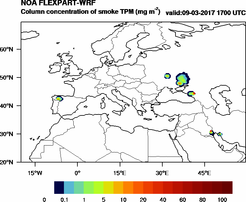 Column concentration of smoke TPM - 2017-03-09 17:00