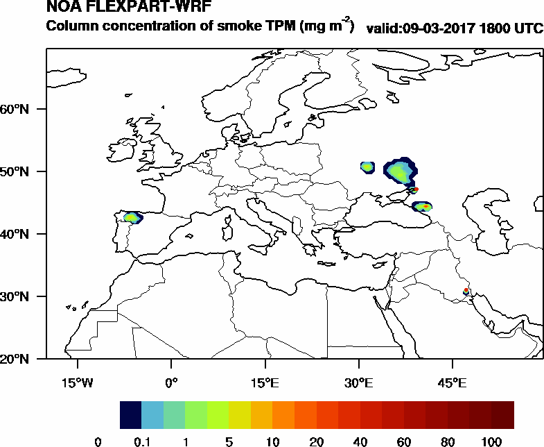 Column concentration of smoke TPM - 2017-03-09 18:00