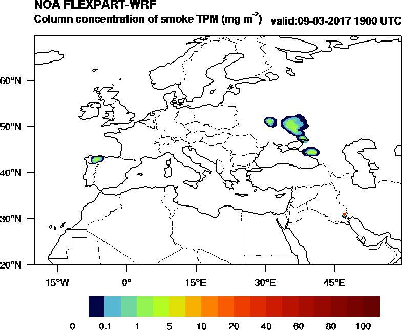 Column concentration of smoke TPM - 2017-03-09 19:00