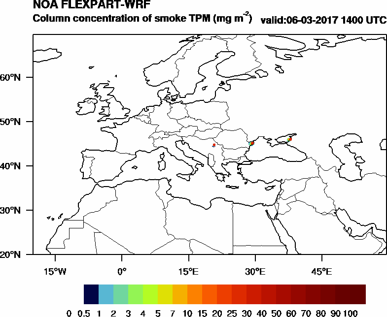 Column concentration of smoke TPM - 2017-03-06 14:00