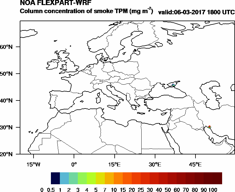 Column concentration of smoke TPM - 2017-03-06 18:00