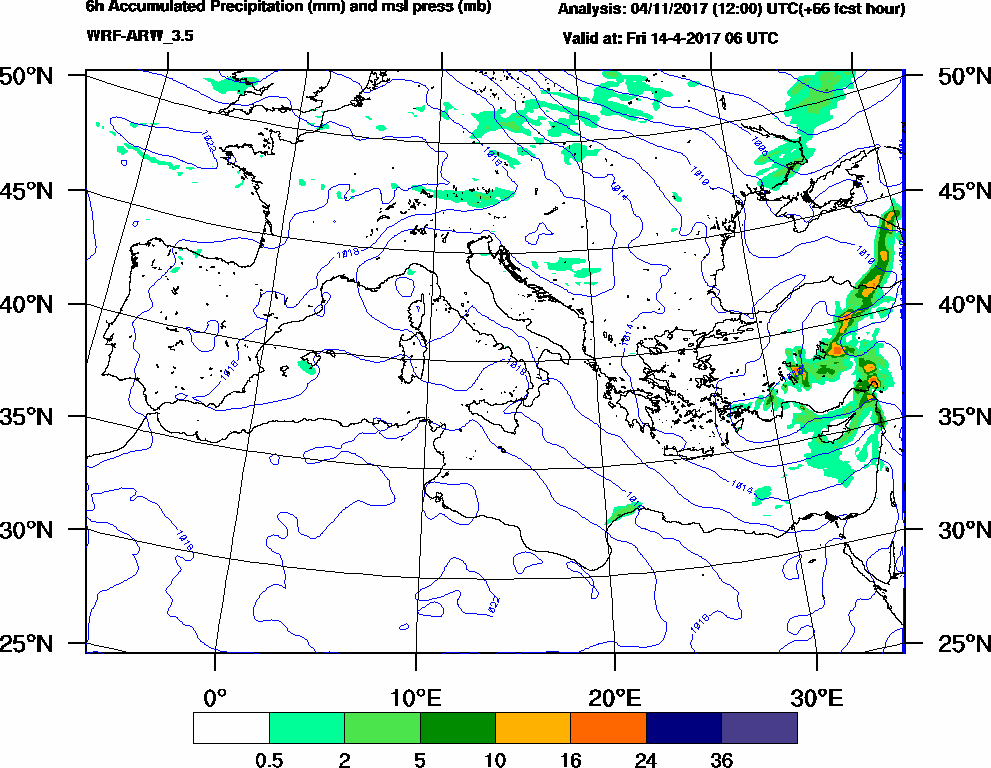 6h Accumulated Precipitation (mm) and msl press (mb) - 2017-04-14 00:00