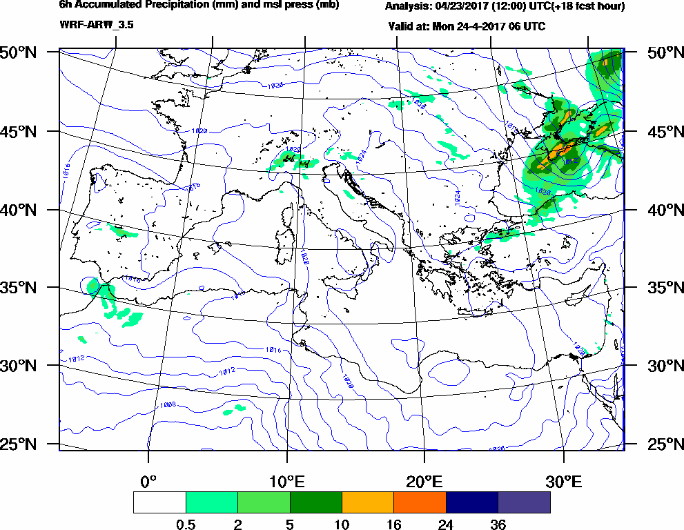 6h Accumulated Precipitation (mm) and msl press (mb) - 2017-04-24 00:00