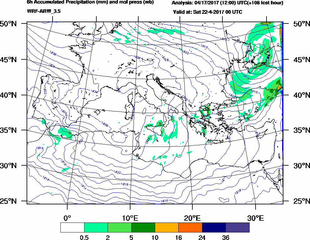 6h Accumulated Precipitation (mm) and msl press (mb) - 2017-04-21 18:00