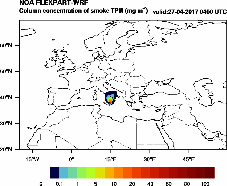 Column concentration of smoke TPM - 2017-04-27 04:00