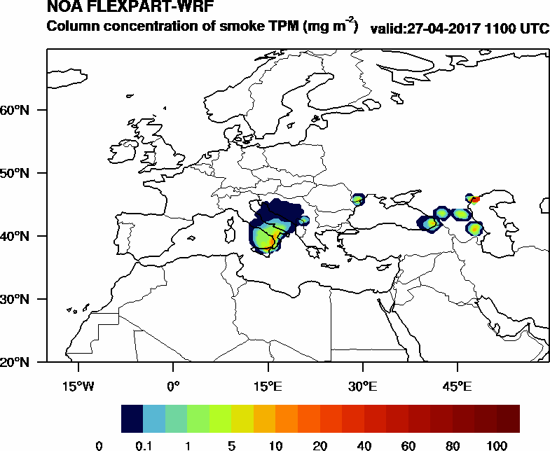 Column concentration of smoke TPM - 2017-04-27 11:00