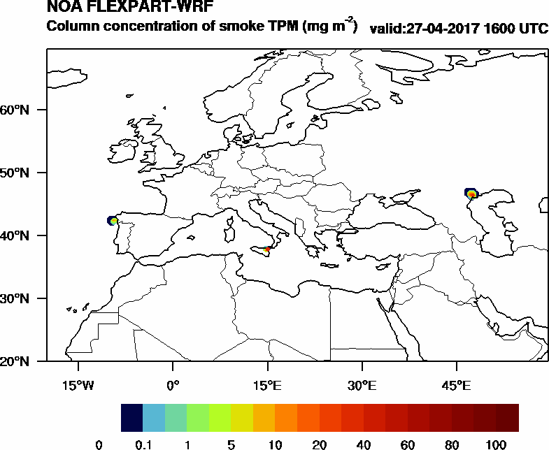 Column concentration of smoke TPM - 2017-04-27 16:00