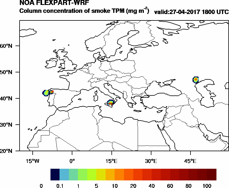 Column concentration of smoke TPM - 2017-04-27 18:00