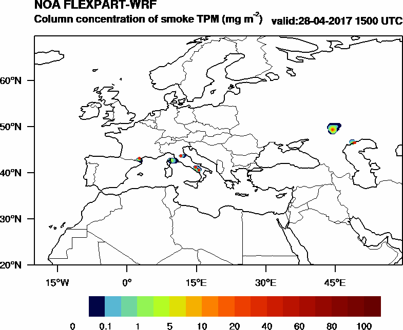Column concentration of smoke TPM - 2017-04-28 15:00