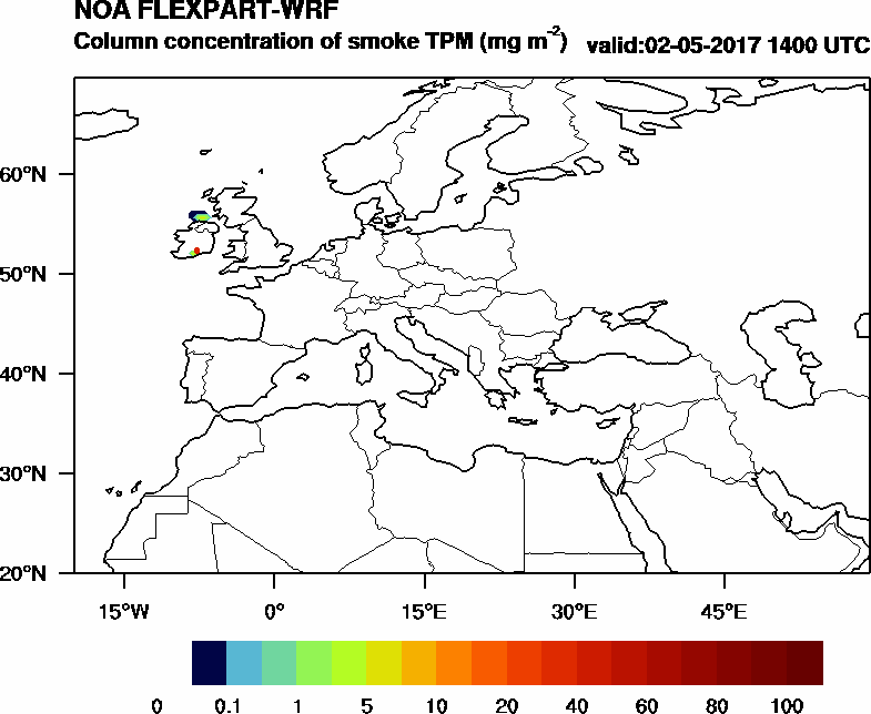 Column concentration of smoke TPM - 2017-05-02 14:00