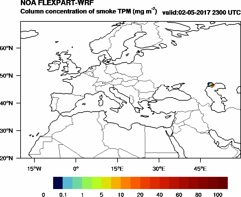 Column concentration of smoke TPM - 2017-05-02 23:00