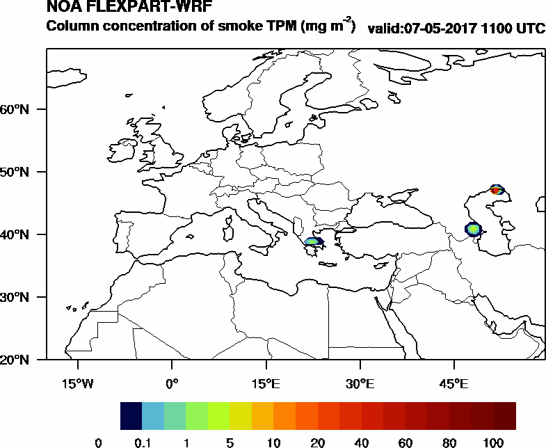 Column concentration of smoke TPM - 2017-05-07 11:00