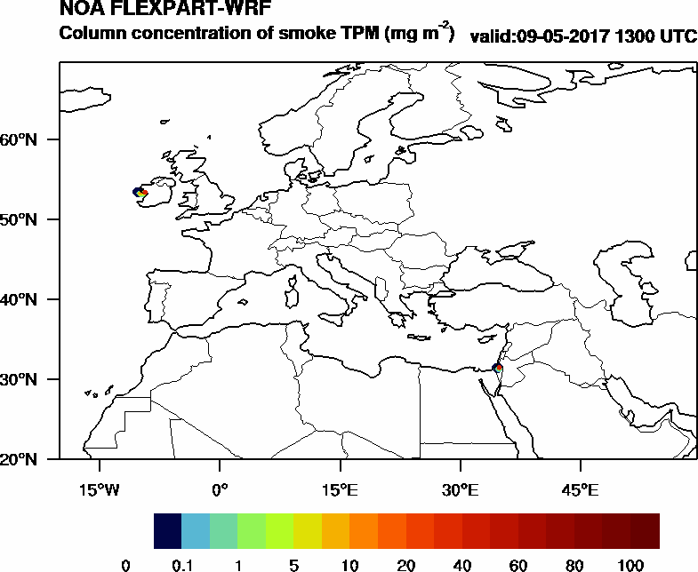 Column concentration of smoke TPM - 2017-05-09 13:00