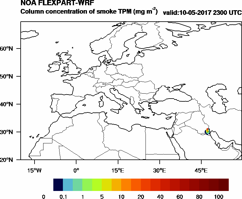 Column concentration of smoke TPM - 2017-05-10 23:00