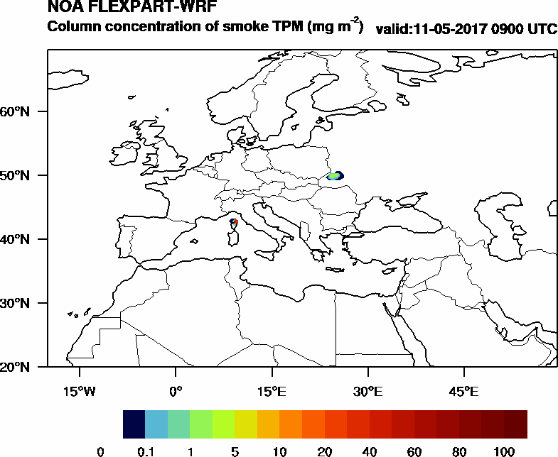 Column concentration of smoke TPM - 2017-05-11 09:00