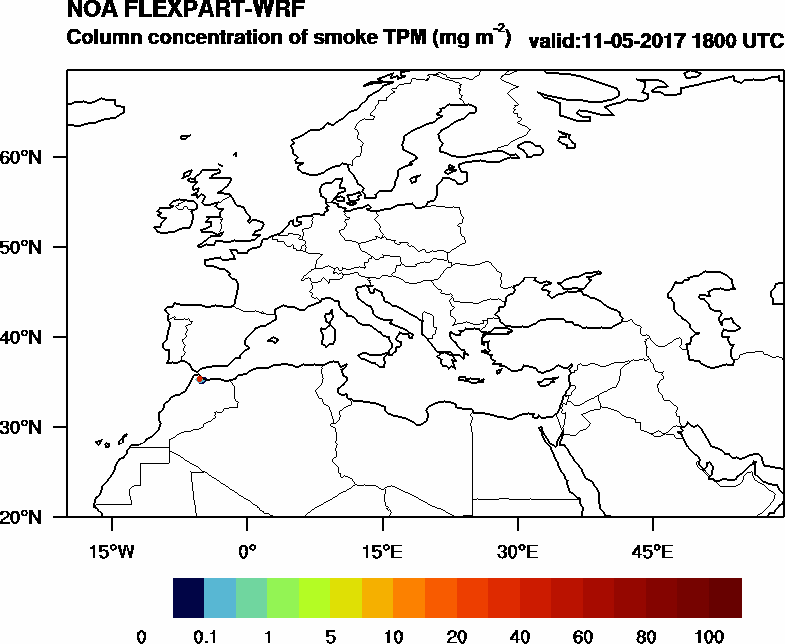 Column concentration of smoke TPM - 2017-05-11 18:00
