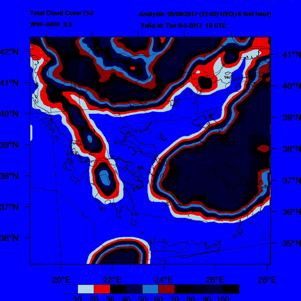 6h Accumulated Precipitation (mm) and msl press (mb) - 2017-05-10 12:00