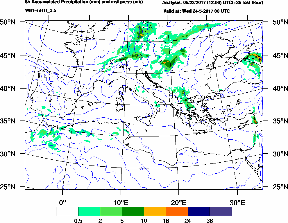 6h Accumulated Precipitation (mm) and msl press (mb) - 2017-05-23 18:00