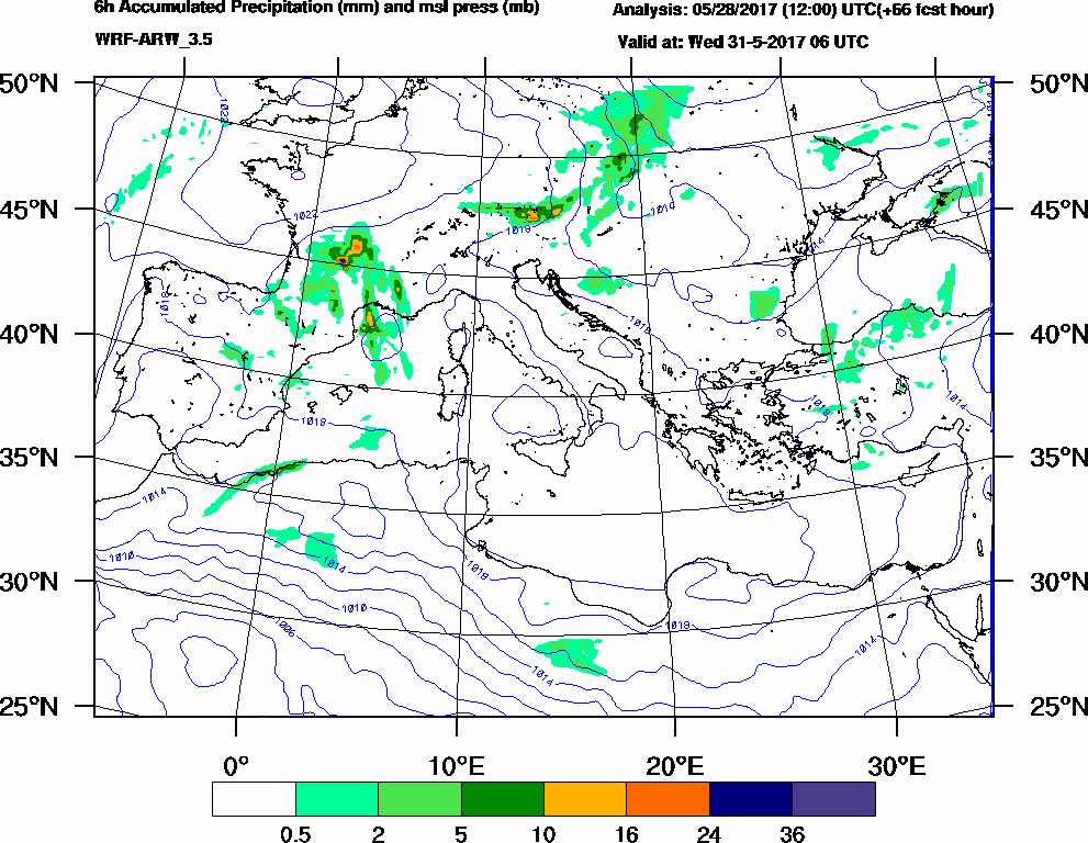 6h Accumulated Precipitation (mm) and msl press (mb) - 2017-05-31 00:00