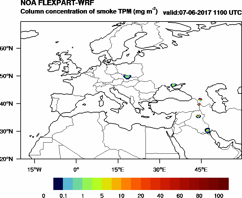 Column concentration of smoke TPM - 2017-06-07 11:00
