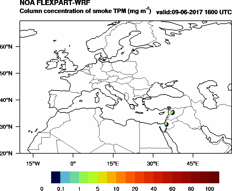 Column concentration of smoke TPM - 2017-06-09 16:00