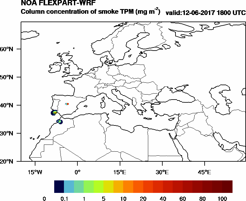 Column concentration of smoke TPM - 2017-06-12 18:00