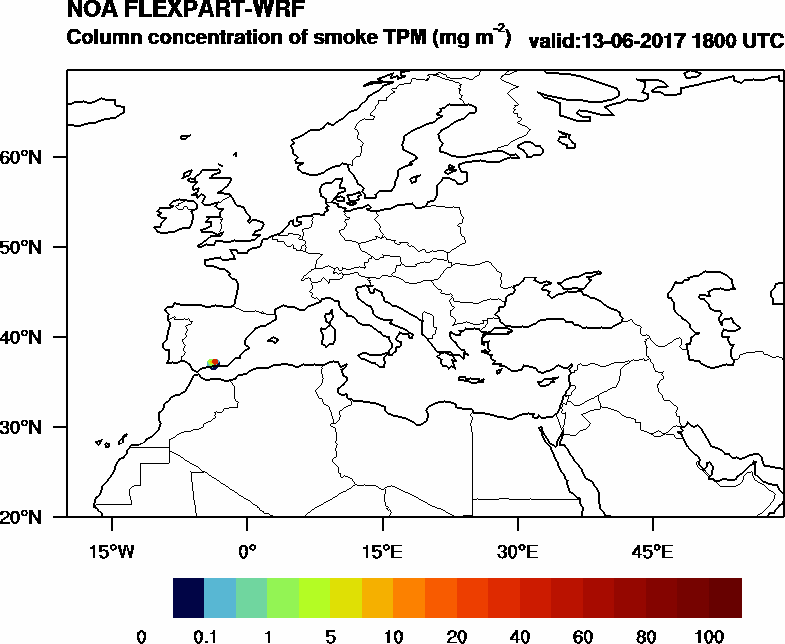 Column concentration of smoke TPM - 2017-06-13 18:00
