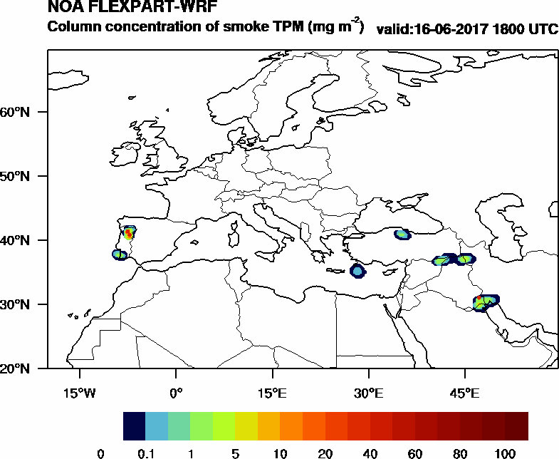 Column concentration of smoke TPM - 2017-06-16 18:00