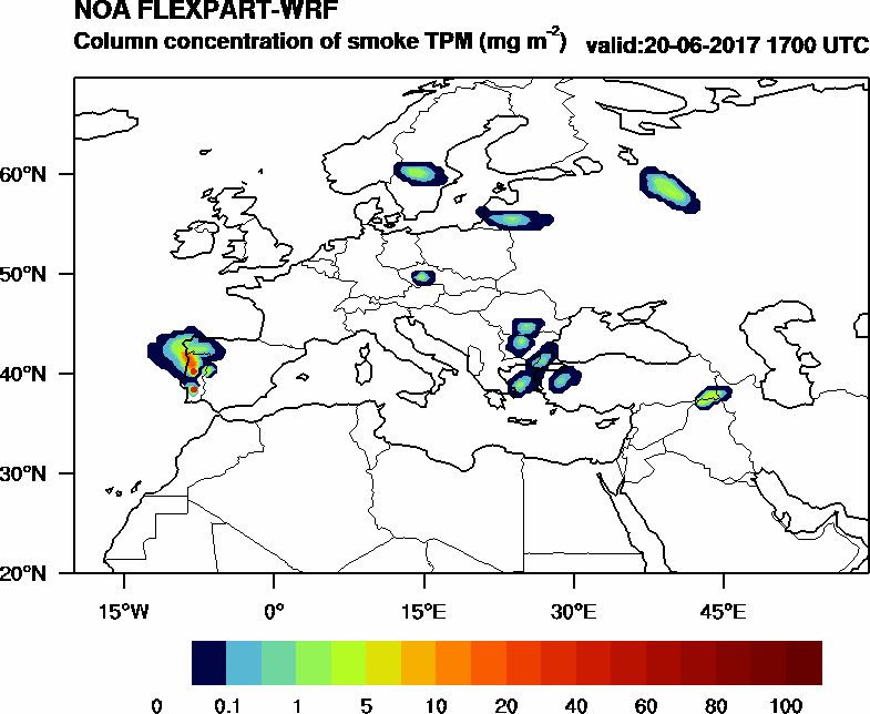 Column concentration of smoke TPM - 2017-06-20 17:00