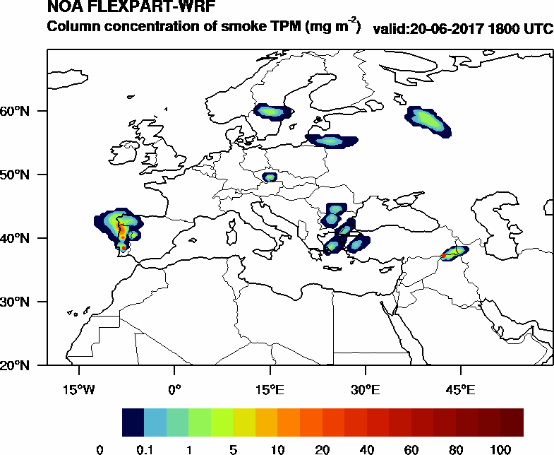 Column concentration of smoke TPM - 2017-06-20 18:00