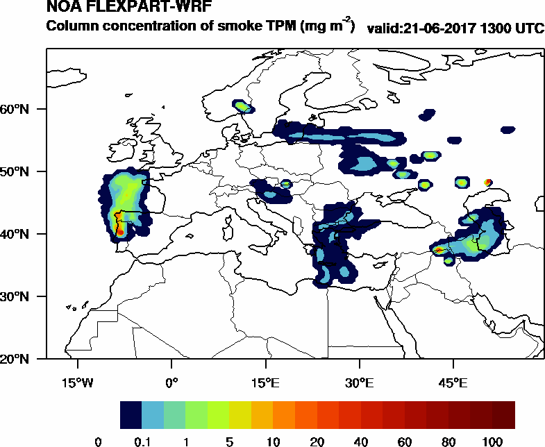 Column concentration of smoke TPM - 2017-06-21 13:00