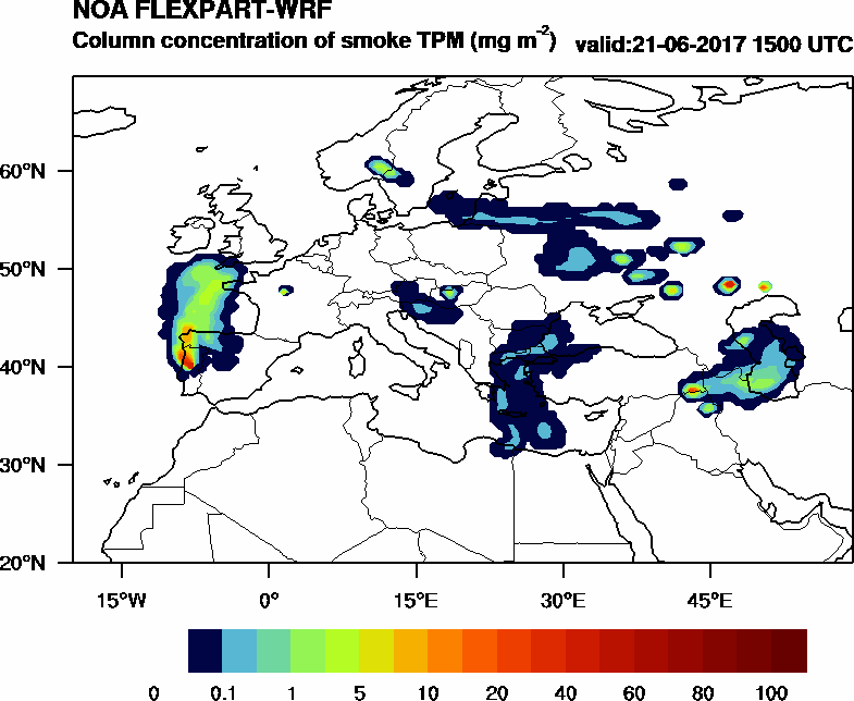 Column concentration of smoke TPM - 2017-06-21 15:00