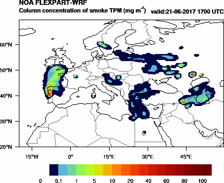 Column concentration of smoke TPM - 2017-06-21 17:00