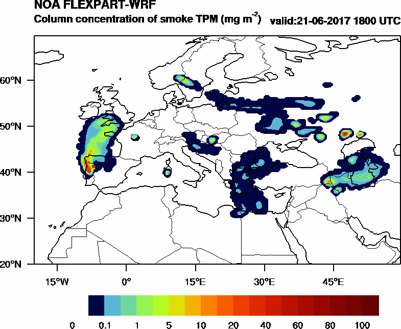 Column concentration of smoke TPM - 2017-06-21 18:00