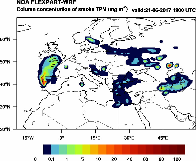 Column concentration of smoke TPM - 2017-06-21 19:00