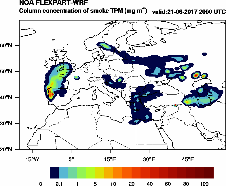 Column concentration of smoke TPM - 2017-06-21 20:00