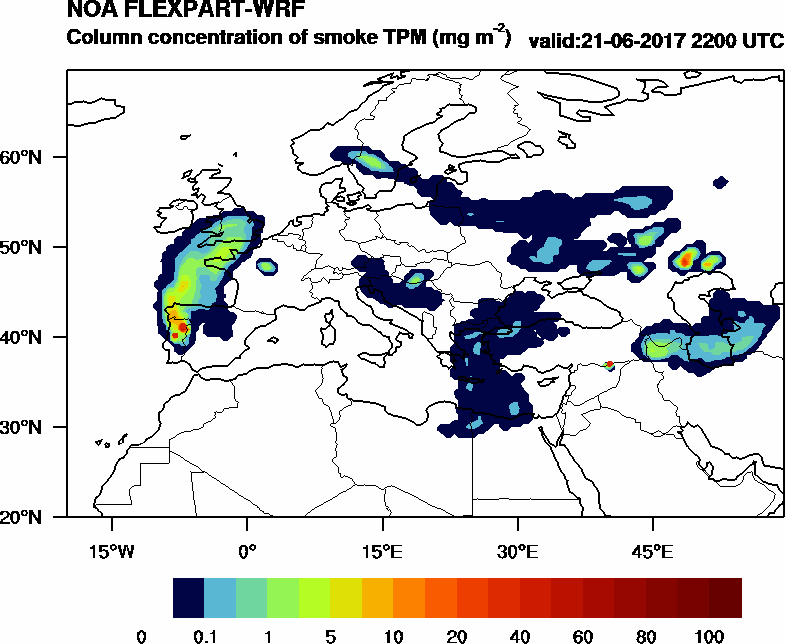 Column concentration of smoke TPM - 2017-06-21 22:00