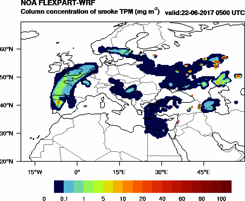Column concentration of smoke TPM - 2017-06-22 05:00