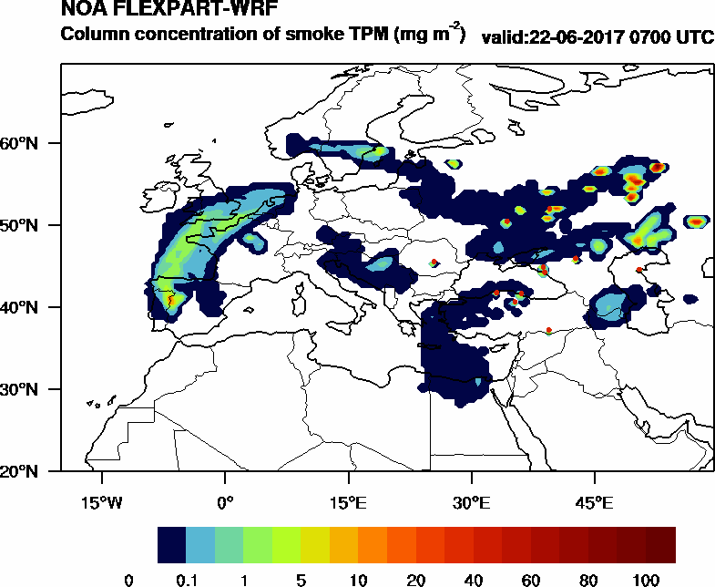 Column concentration of smoke TPM - 2017-06-22 07:00