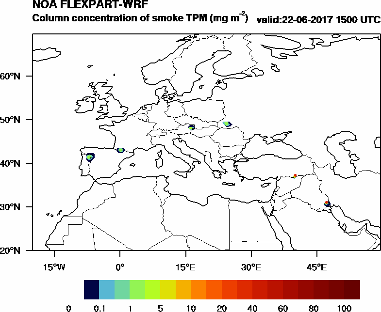 Column concentration of smoke TPM - 2017-06-22 15:00