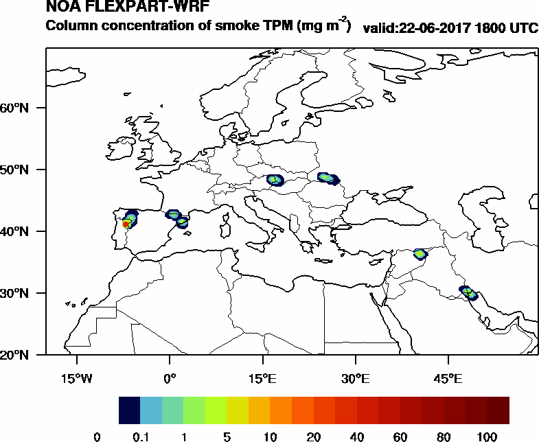 Column concentration of smoke TPM - 2017-06-22 18:00