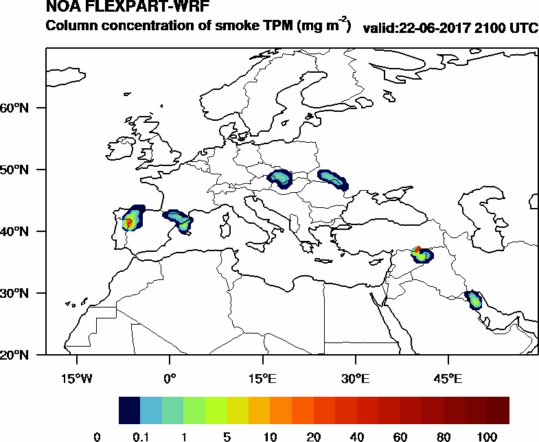 Column concentration of smoke TPM - 2017-06-22 21:00
