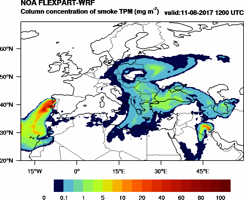 Column concentration of smoke TPM - 2017-08-11 12:00