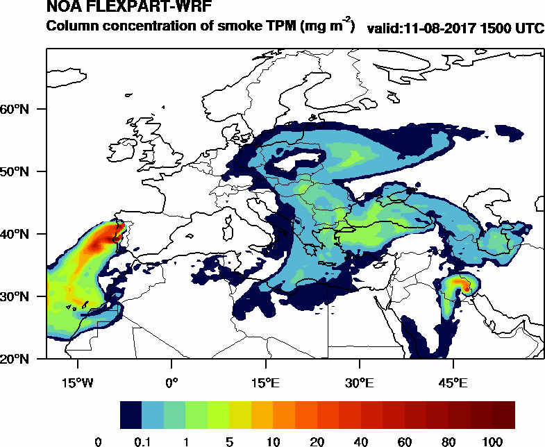 Column concentration of smoke TPM - 2017-08-11 15:00