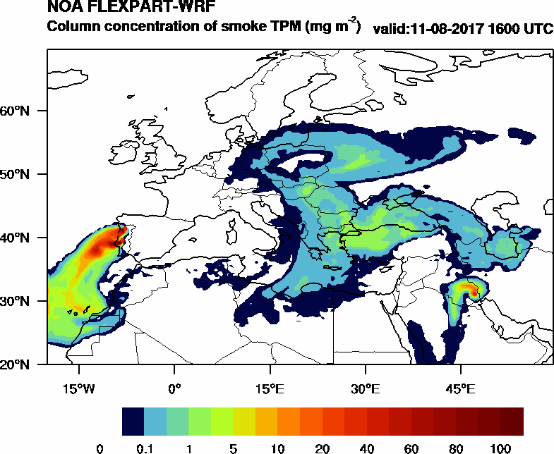 Column concentration of smoke TPM - 2017-08-11 16:00