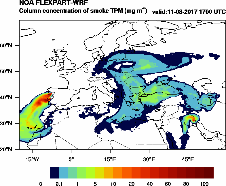 Column concentration of smoke TPM - 2017-08-11 17:00