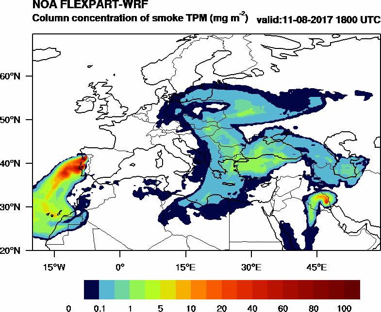 Column concentration of smoke TPM - 2017-08-11 18:00