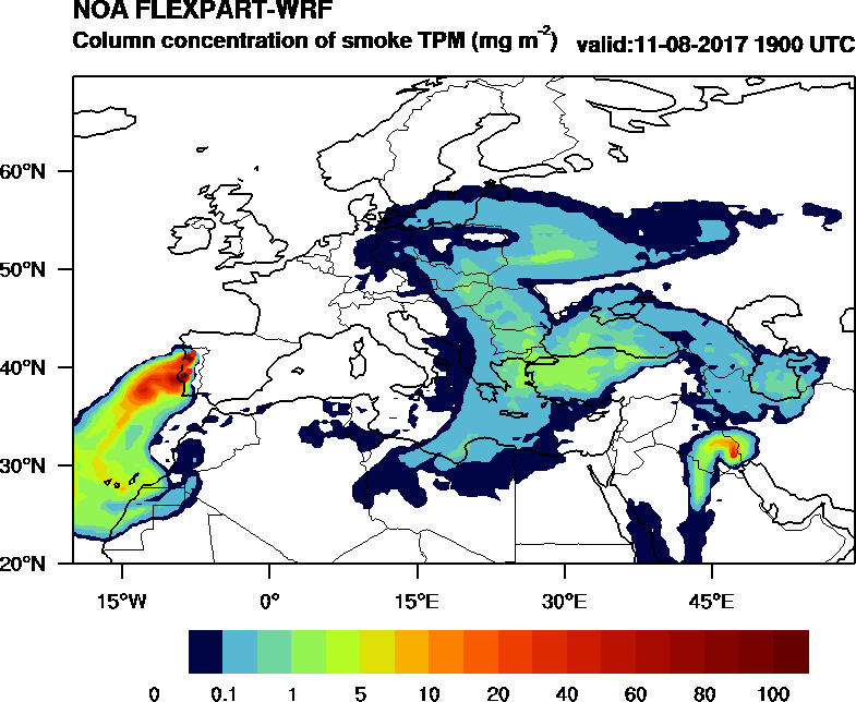 Column concentration of smoke TPM - 2017-08-11 19:00