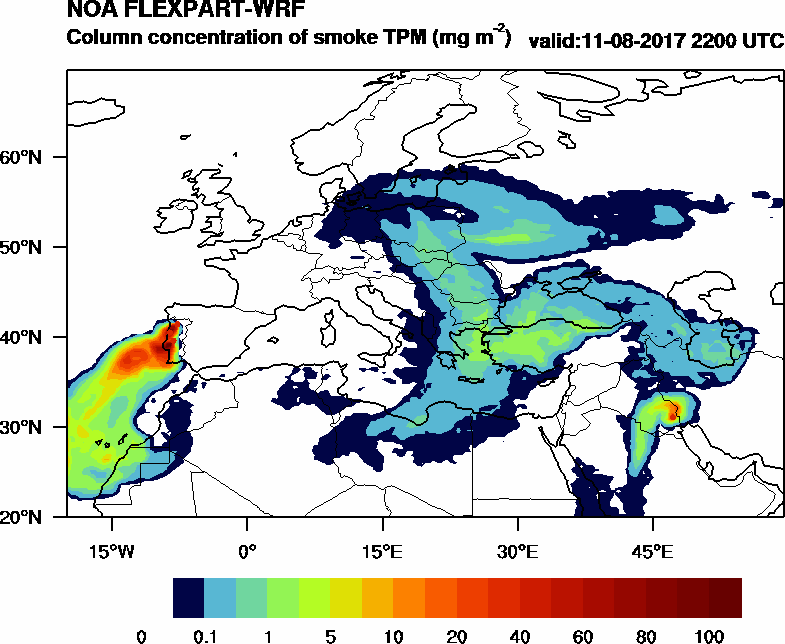 Column concentration of smoke TPM - 2017-08-11 22:00